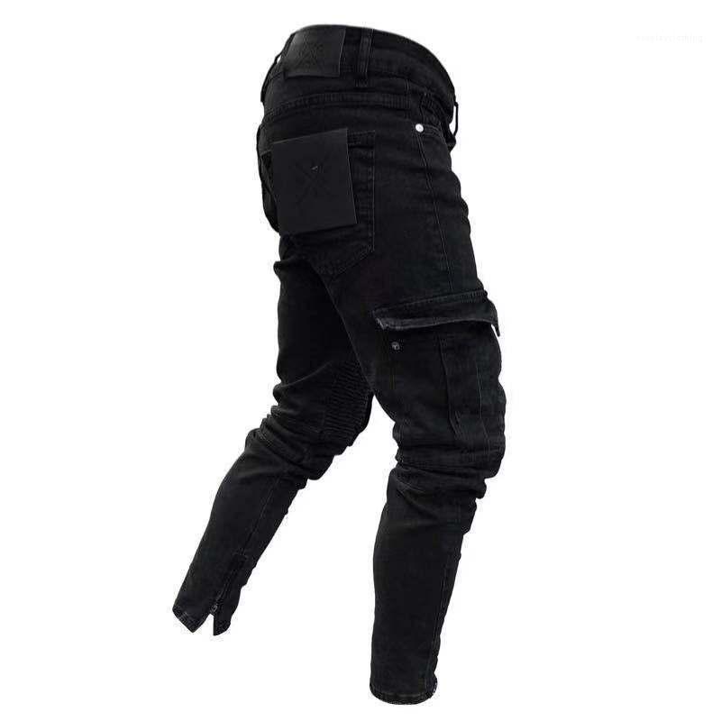 Tasarımcı Pantaones İlkbahar Sonbahar Biker Sıkıntılı Jeans Siyah Büyük Erkekler için kot pantolon ceplerini
