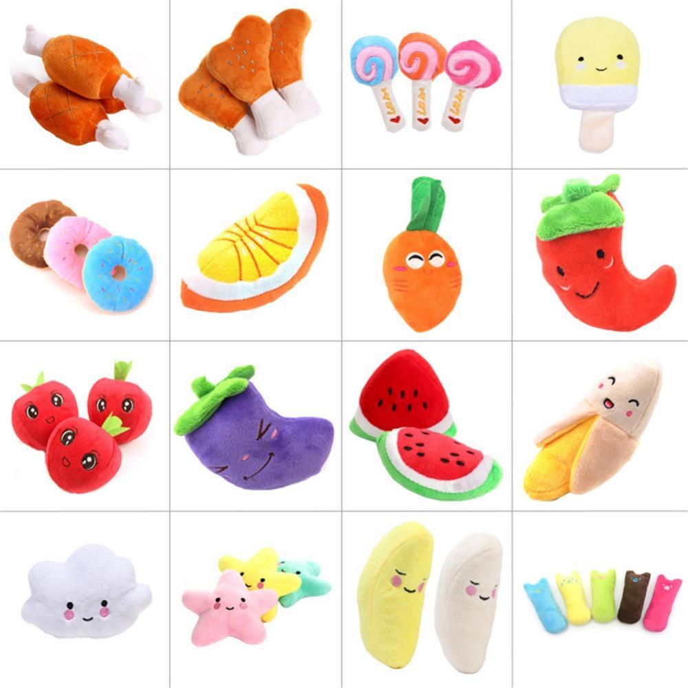 Peluche Squeak Toy Cartoon fruits légumes poulet tambour os crème glacée carotte Puppy Chew Jouets pour animaux Bite Interactif Son Jouet