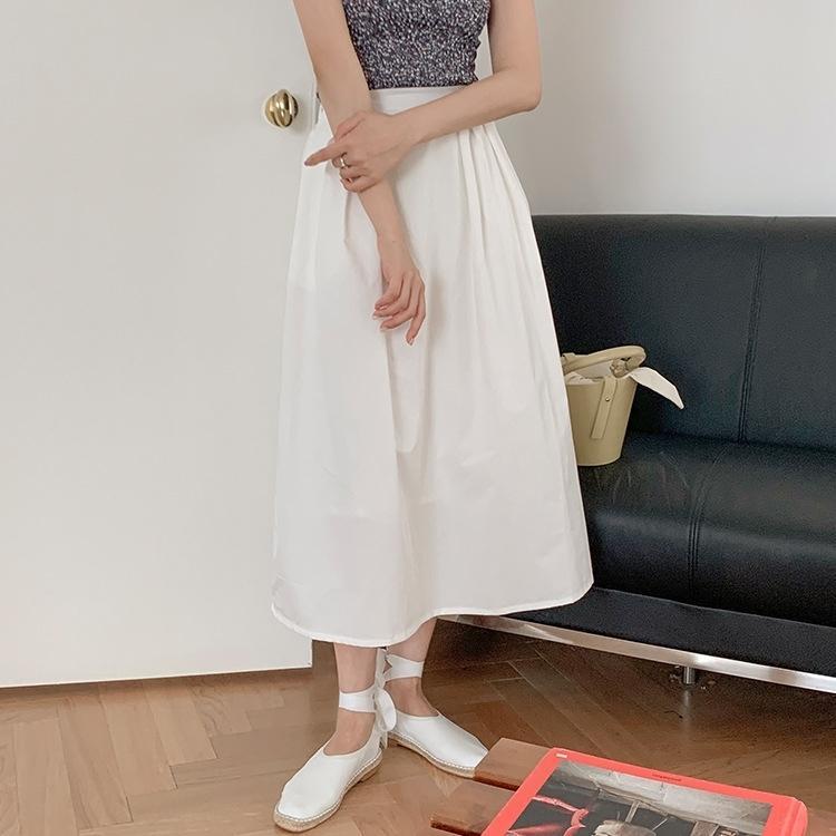 nNima suave cor do verão e casaco plissado elegante casaco de algodão cintura alta básica versátil Liangye2020 sólida overskirt 2059