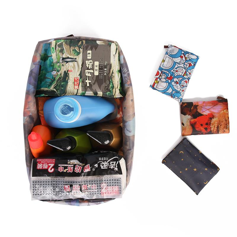Cartoon Large Reusable Washable Bags Shopping Eco Grocery Foldable Friendly Polyester Waterproof Bag Travel Tote Pouch Etavo