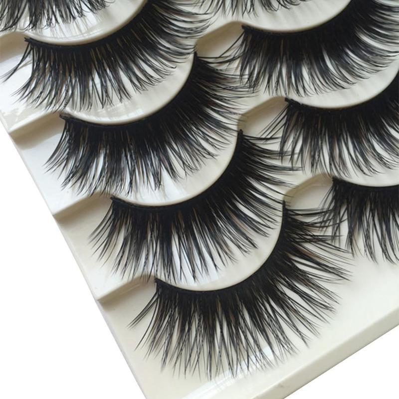 5 pares Mink pestañas falsas pestañas naturales pestañas postizas 3d Mink Lashes 3D Faux Extensión de maquillaje