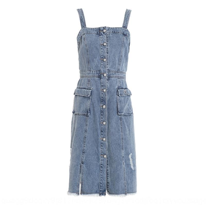 Q2003108-2020 printemps et en été nouvelle ère réduction française jarretelle jarretelle jupe robe simple boutonnage jupe en jean tout match jeunesse owlxa OW