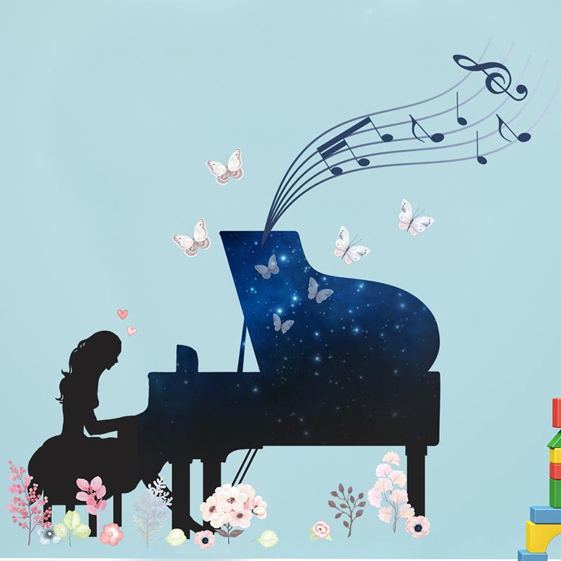Una ragazza che gioca Piano adesivi murali Per i bambini in camera da letto della decorazione murale Music Fans Art Home Stickers creativo fai da te in PVC Poster