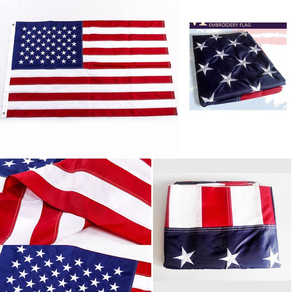 90 * 150cm ricamato bandiera USA bandiera esterna stelle strisce di ottone Occhiello Banner 3 * 5 Feet arredamento Refezione FFA4259