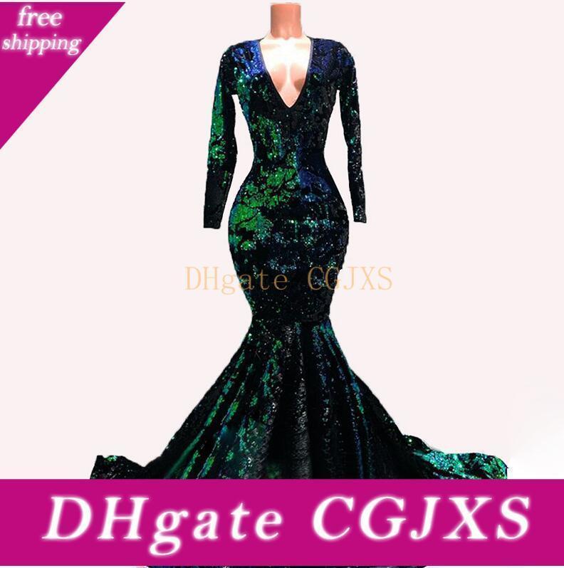 Verde esmeralda Velvet Mermaid vestidos de noite formal com manga comprida 2020 Winter Party Sequins Sparkly luxo ocasião Prom Vestido