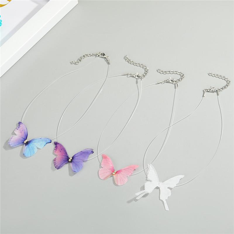 Colorida de la mariposa 1PC circón cordón de joyería para el regalo Gargantilla collar femenino de Corea de la moda del cristal Animal clavícula Cadena