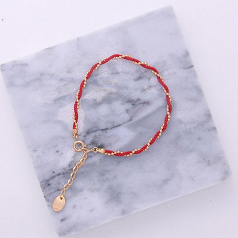 Oro rojo cuerda simple 14k de oro bolsa de cuentas cuerda fresca mano año de vida pulsera tobillera pulsera fina para las mujeres