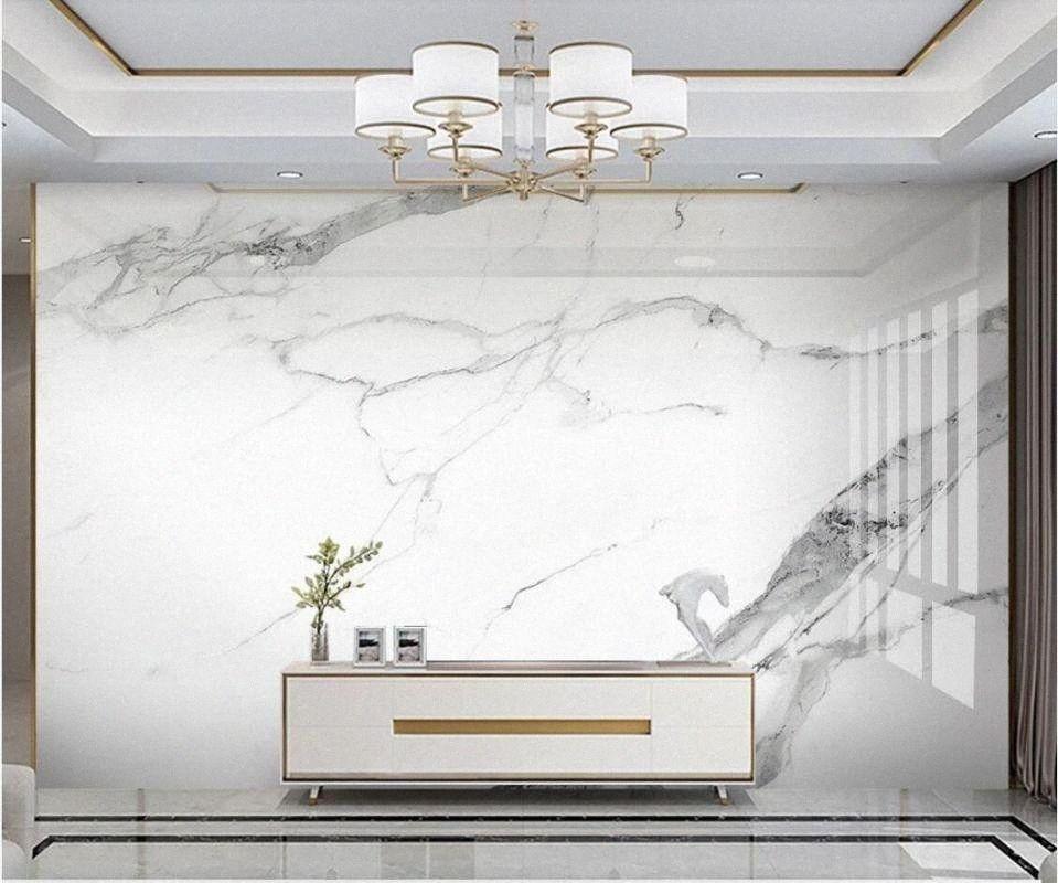 Gris Marbre Marbre Peinture murale pour le salon Contactez-papier Papiers peints Rouleau Wall Art Peintures murales Papel De Parede texturé Fond d'écran Images mur Df8P #