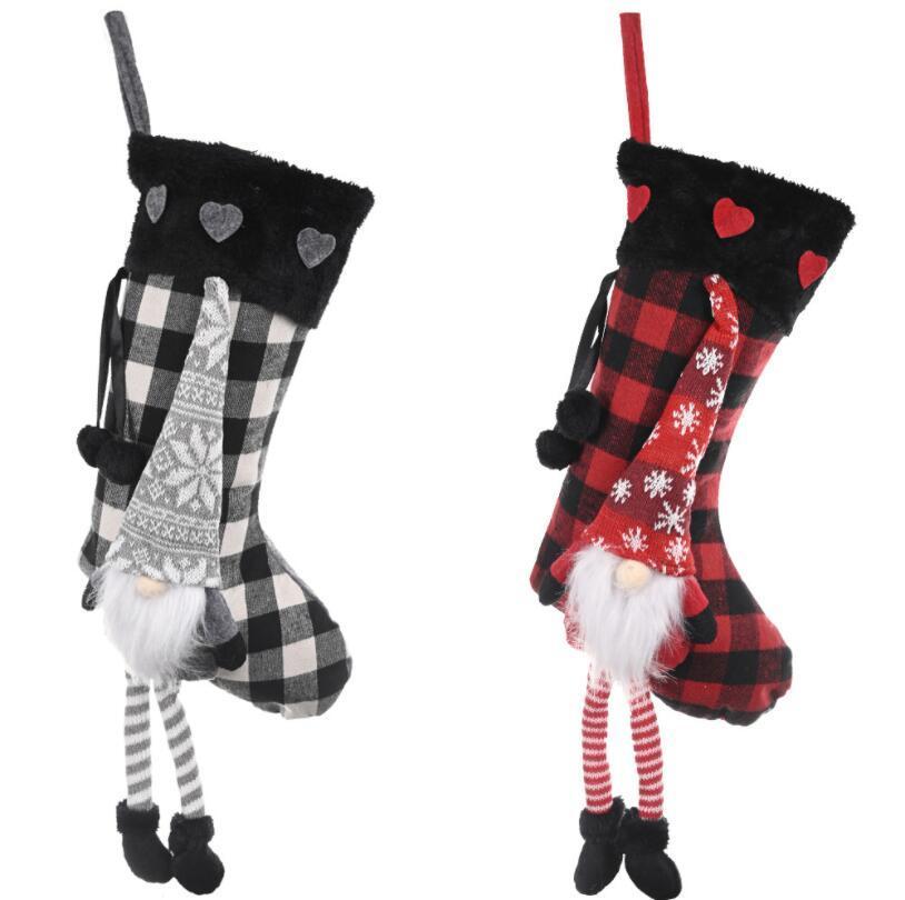 Chaussettes de Noël Buffalo Ecossais Coeur Bas de Noël suédoise de Noël Gnome Sock Cheminée Hanging Décorations enfants Sac cadeau LSK2029