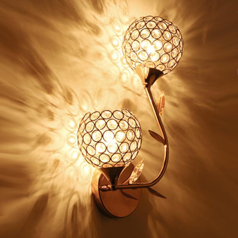 럭셔리 꽃 침대 옆 램프 크리스탈 벽 램프 고전적인 디자인 창조적 인 벽 램프 고정 귀족 장식 복도