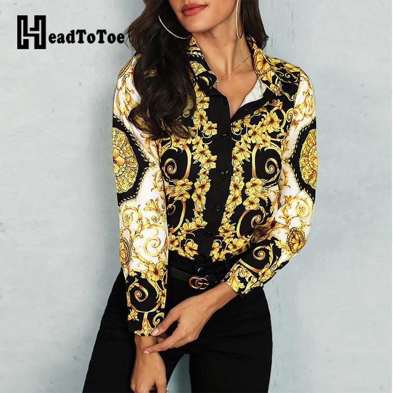 Palazzo floreale misto stampa a manica lunga camicia casual elegante signore camice da lavoro camicetta femminile Breve Top Streetwear 200925