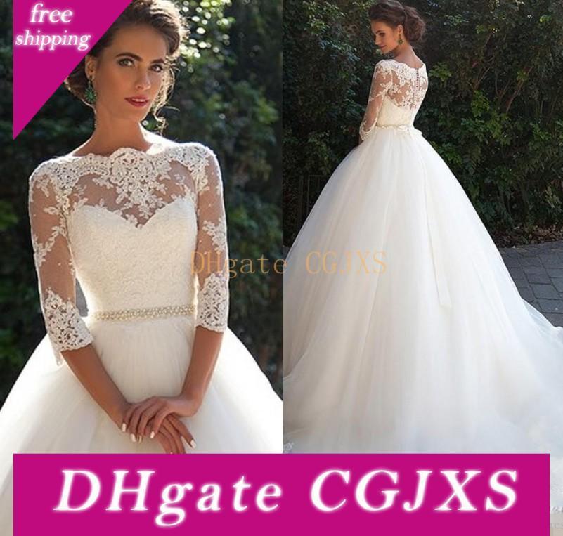 Vestidos de novia de encaje de la vendimia 2020 con la mitad de manga larga de tul Perlas de una princesa vestidos de novia más el tamaño de lÍnea País We2998
