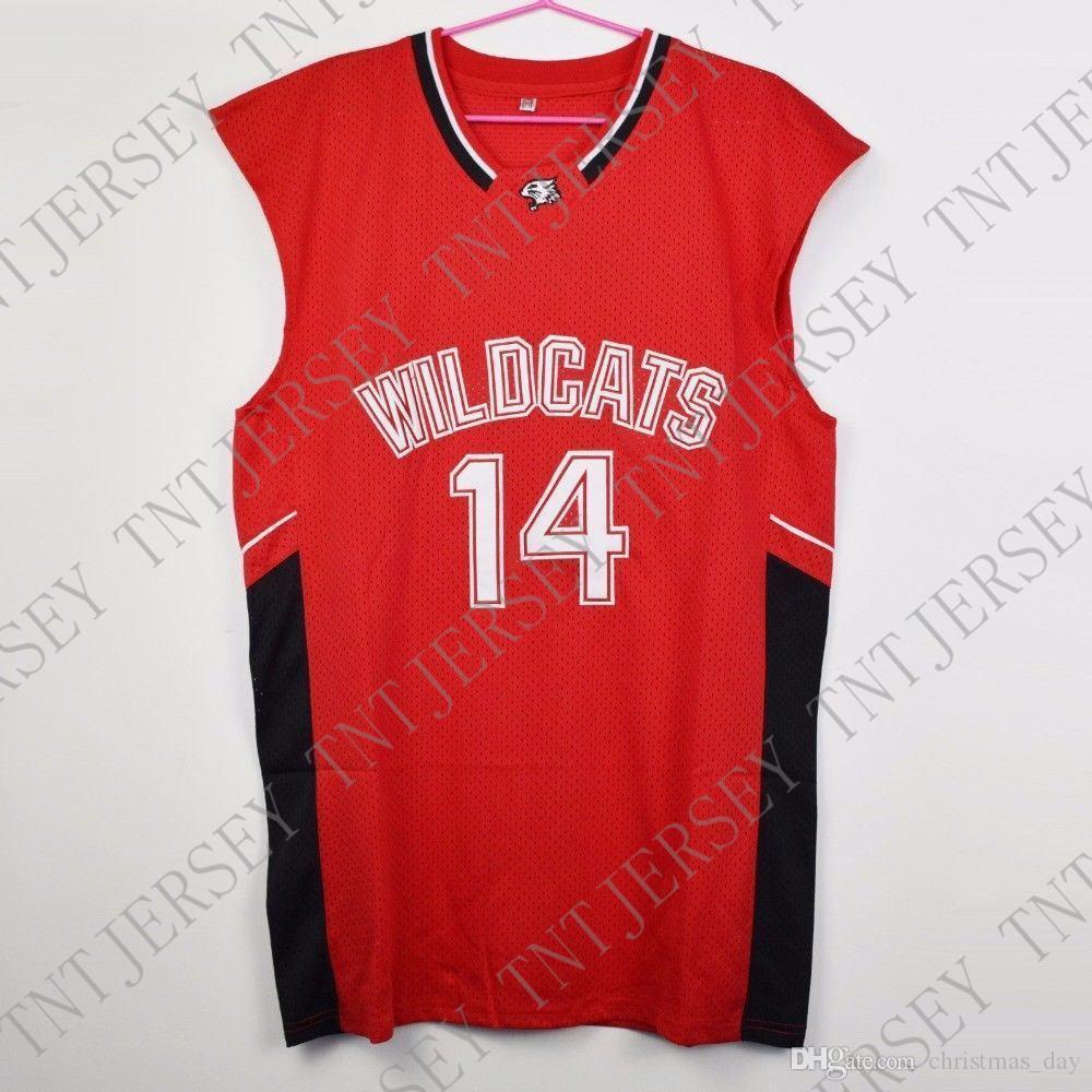 Zac Efron pas cher sur mesure # 14 Troy Bolton-Est chats sauvages de lycée de basket-ball maillot rouge de point personnaliser un nom de nombre JEUNES FEMMES HOMMES