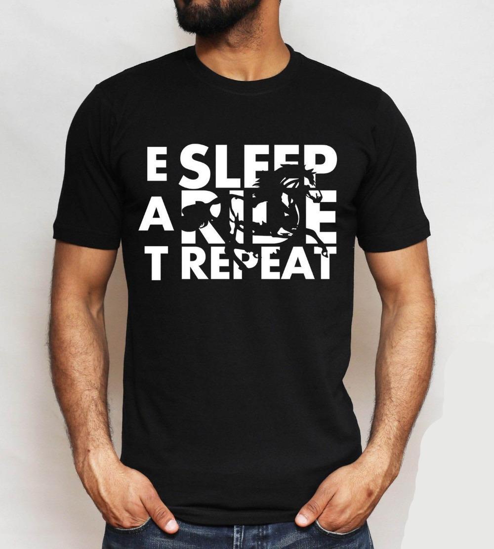 2019 neue Sommer-Mann-T-Shirt Eat Sleep Ride Repeat-T-Shirt, Tierliebhaber, Reiten Sport-T-Shirt, Unisex Top-lustige T-Shirt
