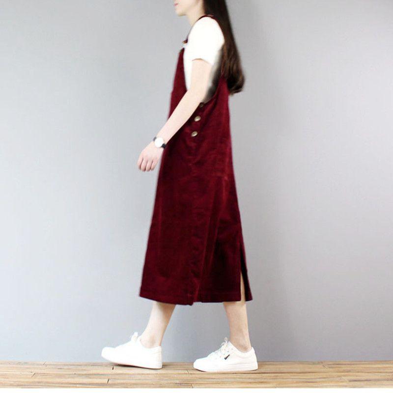 Ücretsiz Kargo 2020 Yeni Moda Gevşek A-line Kadife Elbise İçin Kadınlar Uzun orta buzağı Artı boyutu Tek parça S-XL tulumları Elbiseler
