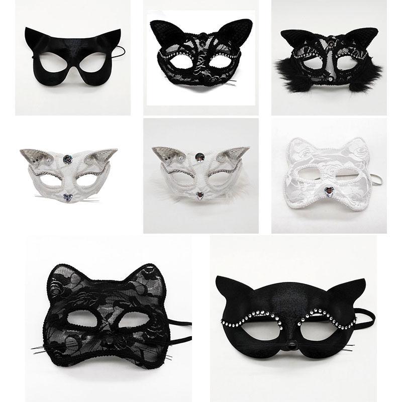fase cosplay Halloween Mezza puntelli maschere di prestazione del merletto sexy volto femminile animale gatto mascherina del partito di Natale Dropshipping F2001