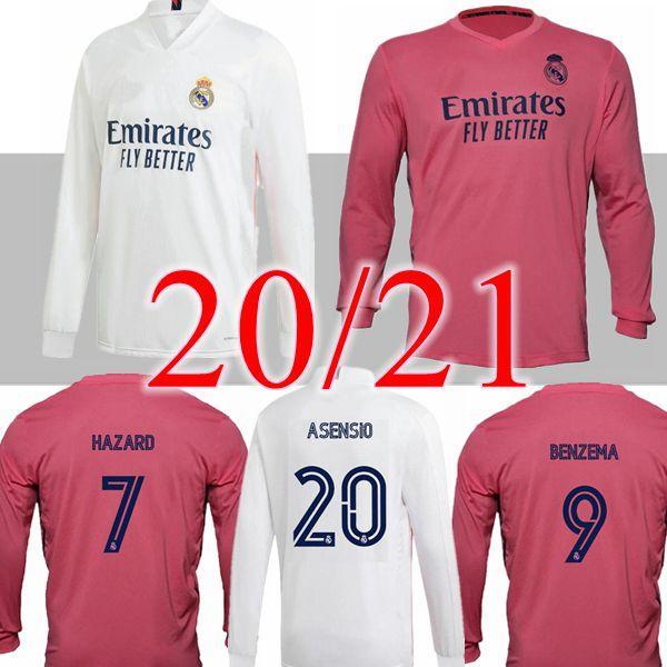 20 21 real madrid long sleeve jerseys soccer 2020 2021 hazard ASENSIO VINICUS JR SERGIO RAMOS BENZEMA modric bale football shirt camisetas