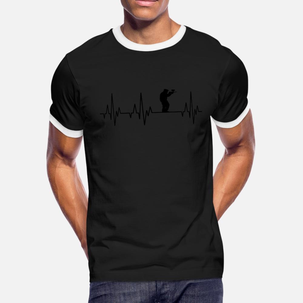Heartbeat Пейнтбол Гоча Funsport Airsoft Airgun тенниска мужчины персонализированные с коротким рукавом Круглый воротник фотографии Известные лето рубашка