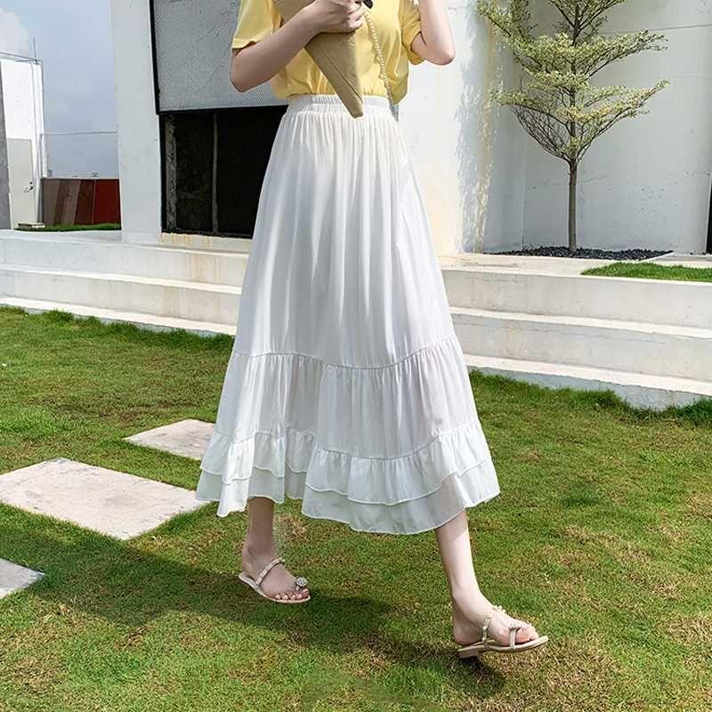 2020 mujeres de moda de verano maxi largo faldas plisadas falda de Midi Partido Elascity de cintura alta hembra falda púrpura Vintage Clothes