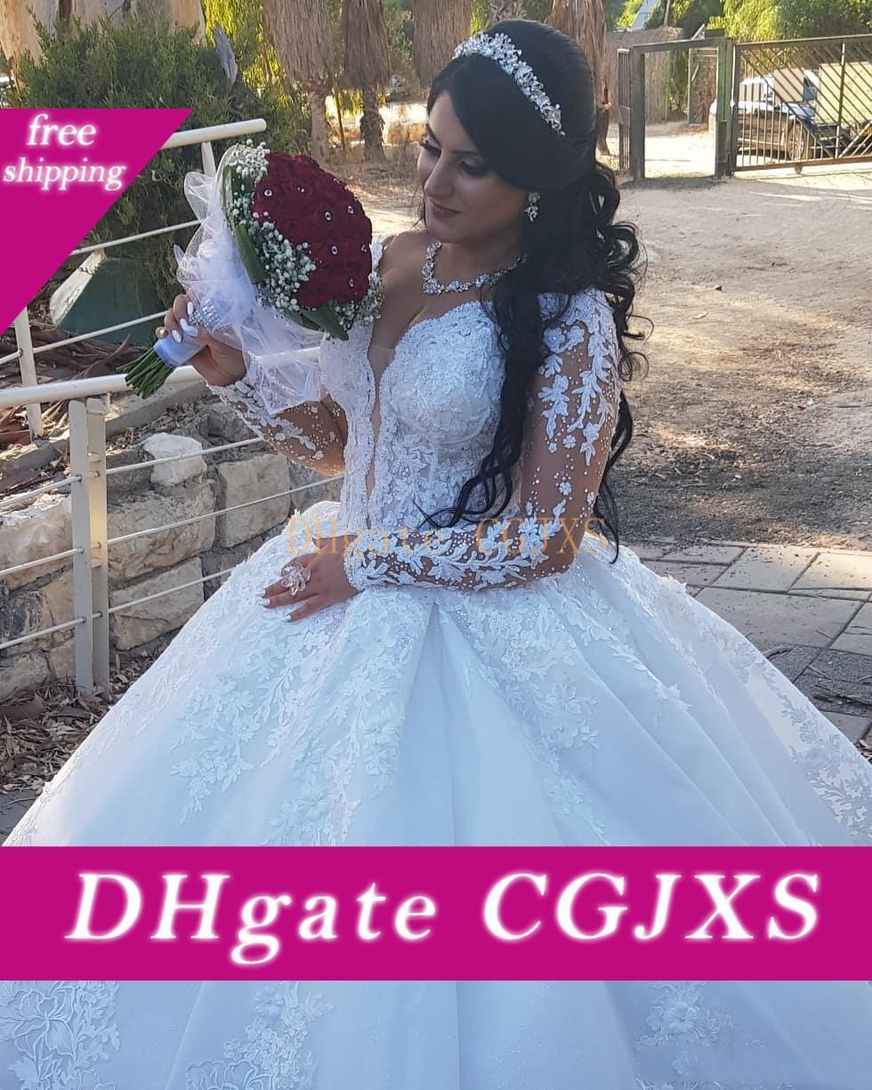 Luxuriöse mit V-Ausschnitt Spitze Ballkleid Hochzeitskleider-wulstigen langen Ärmel Sweep Zug Brautkleider Plissee Brautkleid Brautkleider