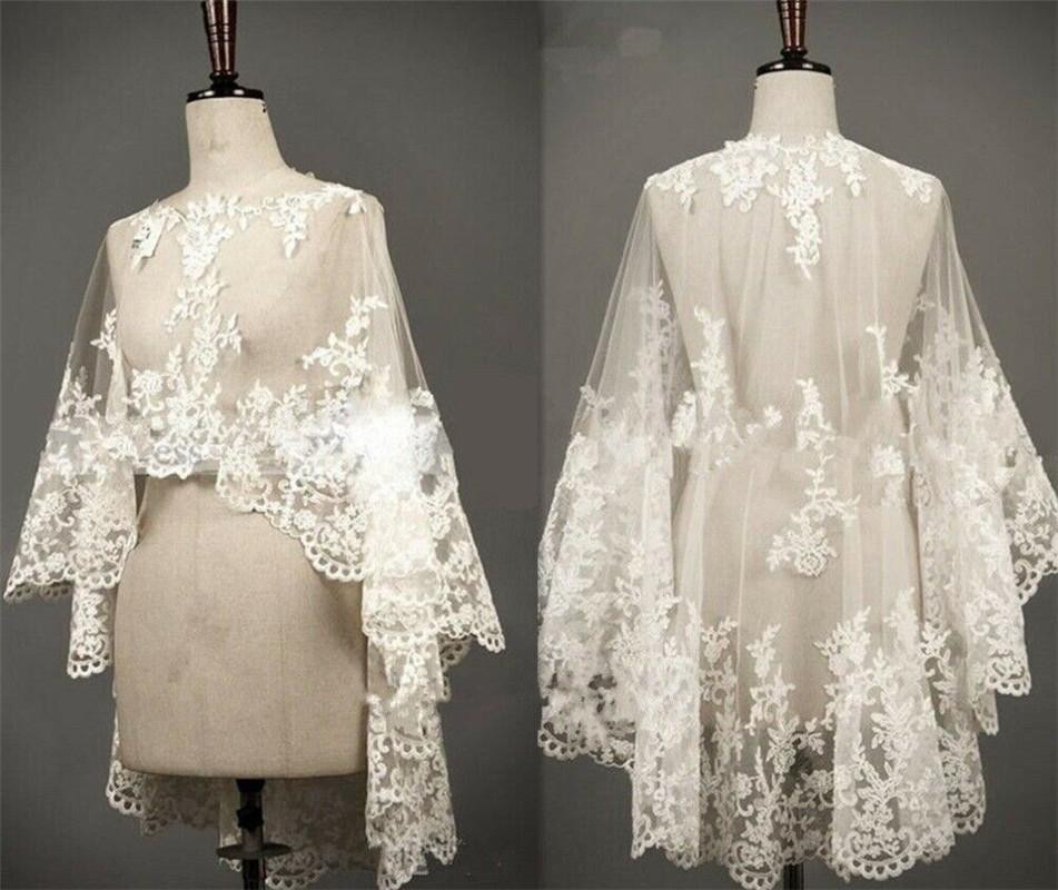 Embroidered white ivory lace bridal cloak Cloak embroidery embroidery front short back long mesh shawl embroidered decals