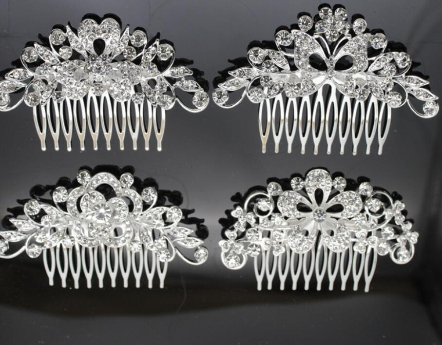 Sparkly Austrian Crystal Butterfly Wedding Hair Comb Tiara Handmade Silver Jewelry Bridal Metal Hair Comb Accessories for ps2458