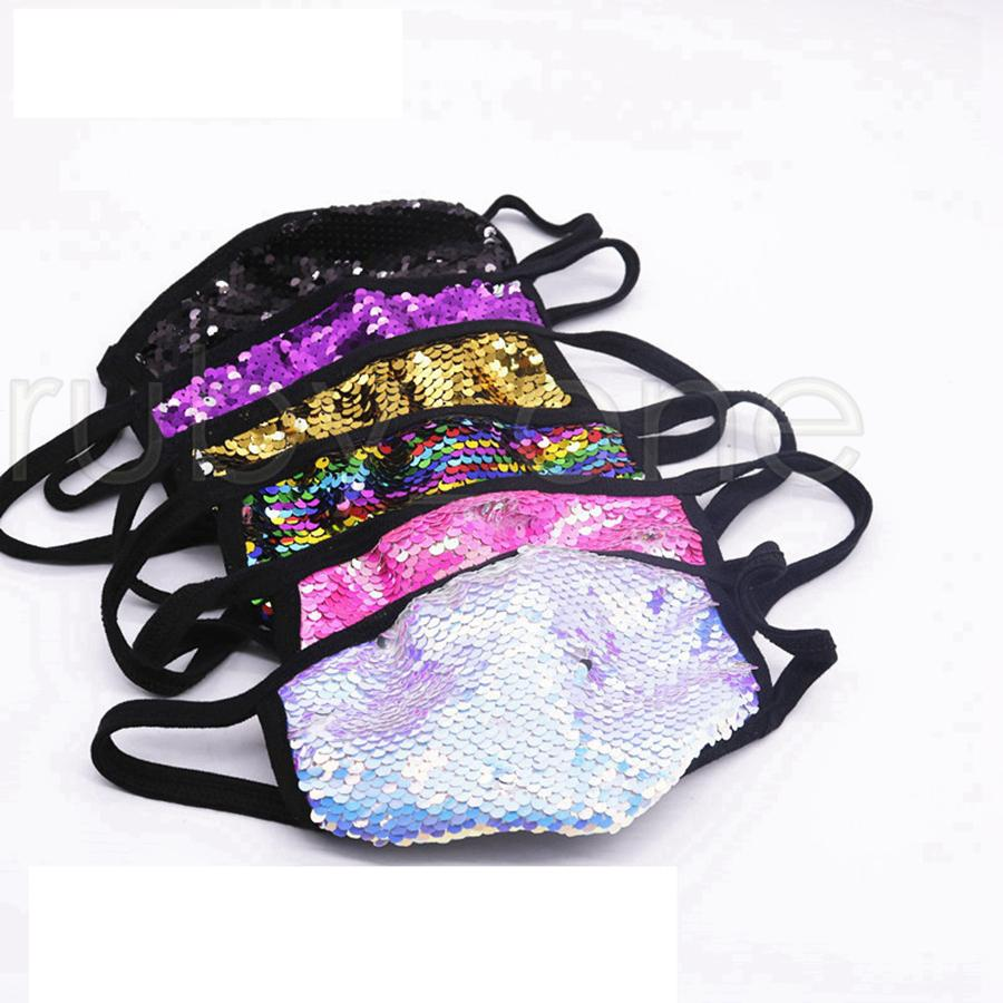 Sequin Masques Glitter respirateurs bling bling unisexe antipoussière Bouche couverture Mode Masque de protection lavable en soie Masques coton extérieur RRA3475
