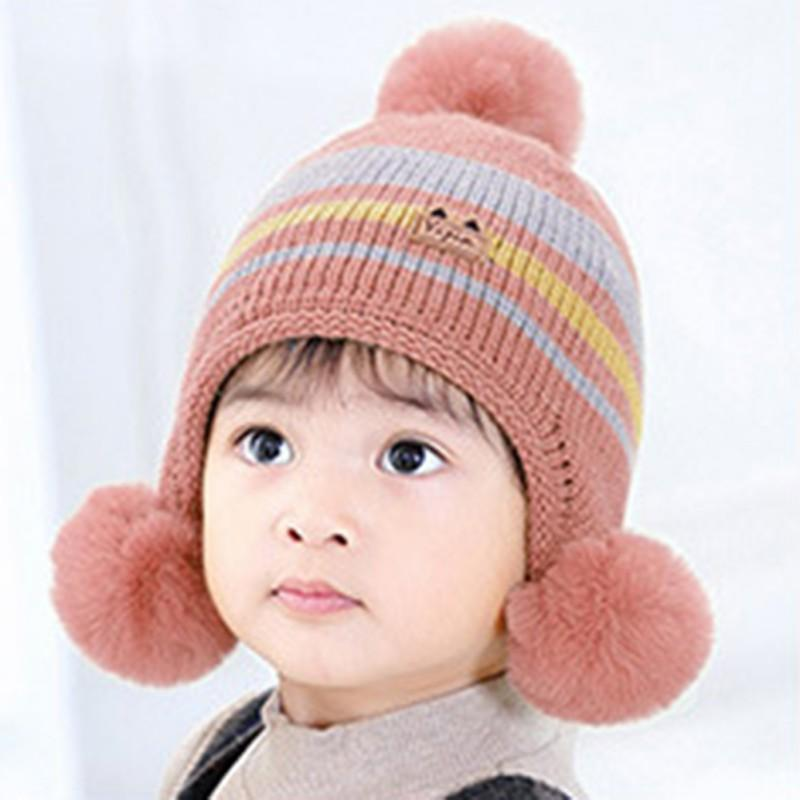 Winter Hat Newborn Cute Warm Kids Girls Boys Baby Stripe Plush Ball Design Hats Knitted Wool Hemming Caps 1-3T