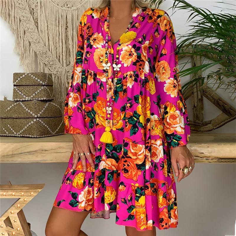 Vestidos de Mujer Ropa más del tamaño verano de las mujeres florales del diseñador vestidos de cuello en V impreso Casual manga larga vestidos de camisas transpirables