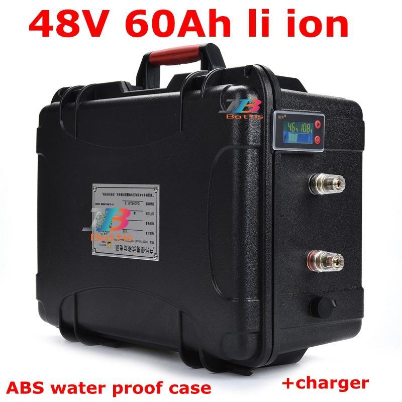 wasserdicht 48V 60Ah Lithiumbatterie Li-Ionen-BMS für Roller 2000w 2500w Invertern Gabelstapler Solarenergiespeicher 10A + Ladegerät