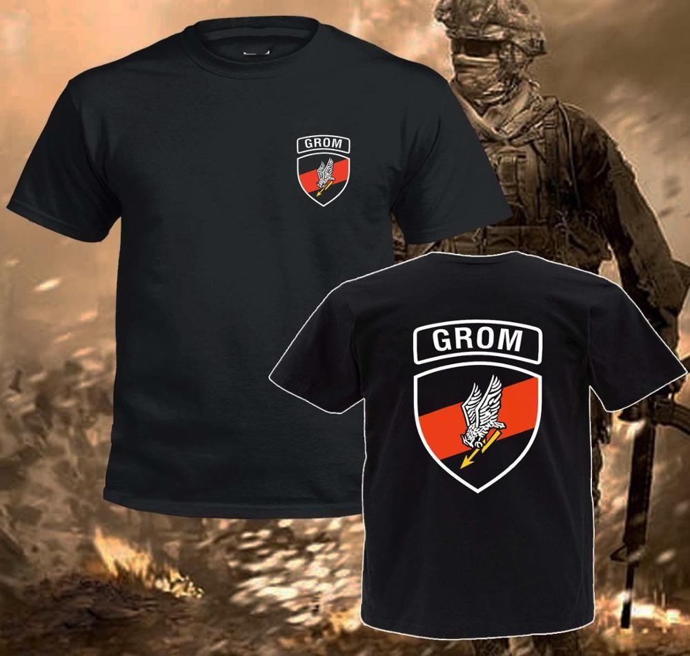 2020 Hot Venda Nova do T Homens inspirou a camisa Design Preto Grom Polish Special Forces Group T Shirt Camiseta