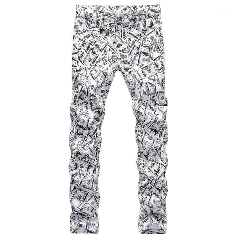 Männlich Bleistift-Hosen-Reißverschluss-gerade beiläufige Jungen-Hose Frühling Mens 3D Printed Hosen Hiphop-Dollar-Muster Mode