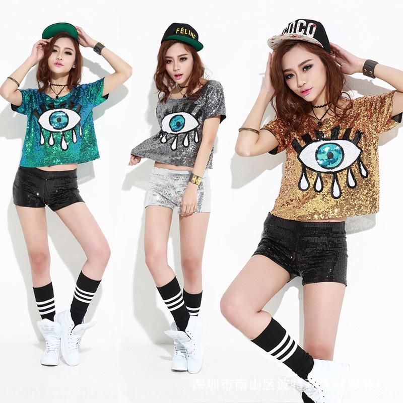 ROkZ8 Nightclub ds performance new hop song Top clothes performance kT dance clothing hip women's street dance top big eyes sequined clothing