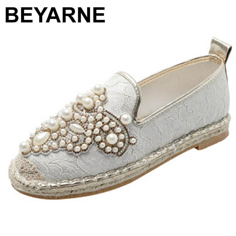 BEYARNE 2020 donne di moda perle casuali pescatori Sneakers ballerina nuova caduta di cristallo lace-up mocassini corda scarpa
