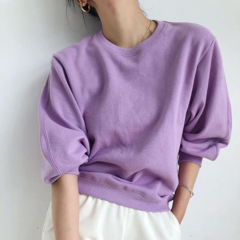 algodão mulheres simples roxo sweatshirt o-pescoço selvagem ocasional senhora moleton cobre