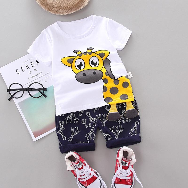 Mode Vêtements pour garçons Ensembles d'été Bébé Garçons Filles Vêtements Cartoon T-shirt + pantalon Outfit nouveau-nés Layette Costume Bébés garçons Y200803