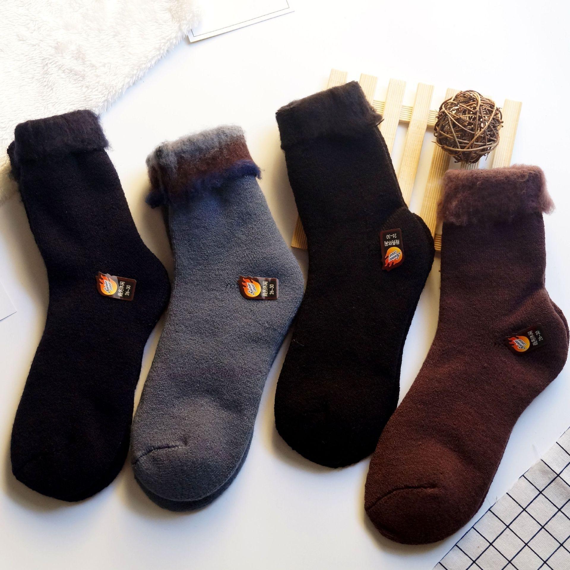 GI67k verdickte warme Fell Winter warme Wolle Farbe feste Herrensocken Socken lange Wolle verdickte Terrys Männer