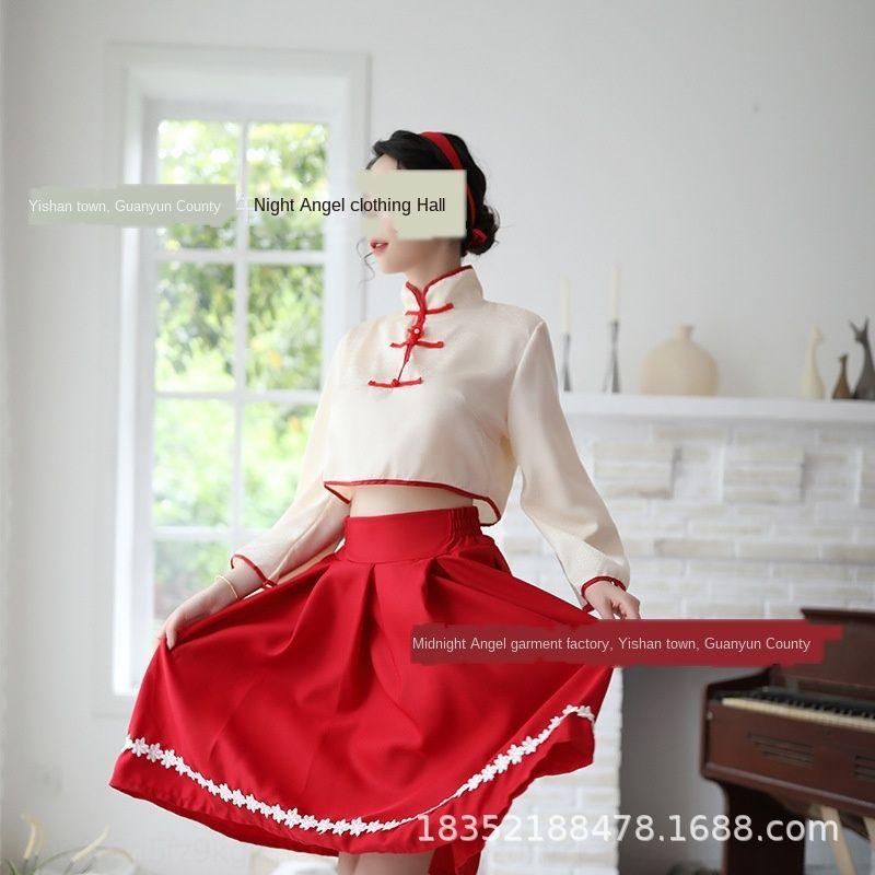 kEaya jUR05 Sexy manga clássica Hanfu impressa cintura alta uniforme terno sexy tentação sino Underwear saia longa mulheres cueca longa saia'