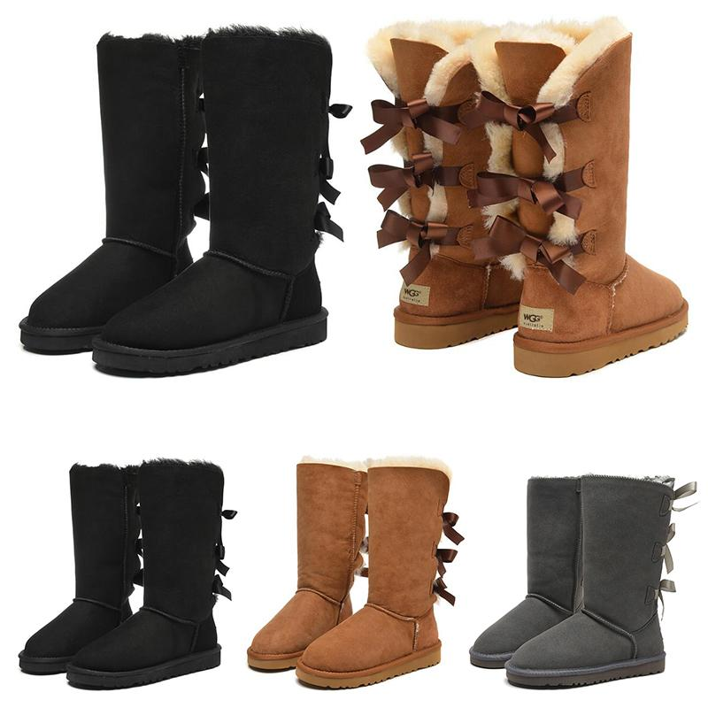 여자 신발 소녀 클래식 스노우 스노우 부츠 3 활 모피 부팅 겨울 검은 gery 밤나무 여성 패션 야외 크기 5-10