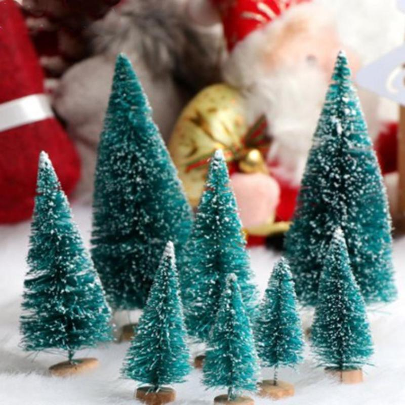 12pcs Mini Arbre de Noël Faux Pin Sisal, Neige, Givre arbres avec base en bois pour Noël Décoration de table
