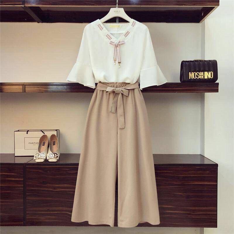 cRfQn BEHbp Erken Geniş geniş bacak pantolon gevşek Koreli 2019 yaz yeni kadın tipi öğrenci elbise mizaç Batı tarzı bağcıklı pa wid bahar