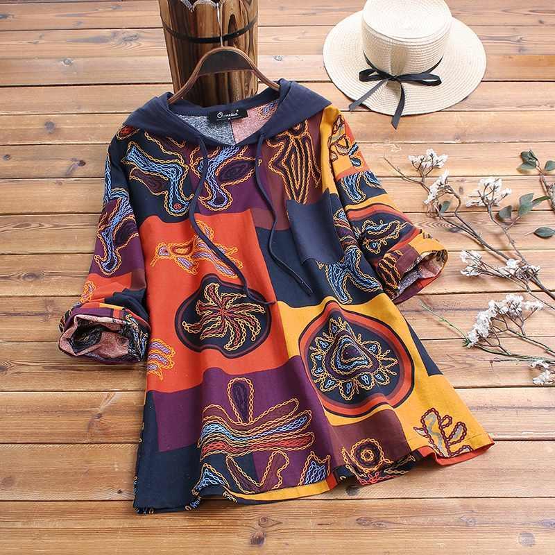 Vintage stampato la camicetta ZANZEA Donna Primavera Felpe con cappuccio manica lunga casuale Cotone Lino camicette Bohemian Camicia Blusas Mujer