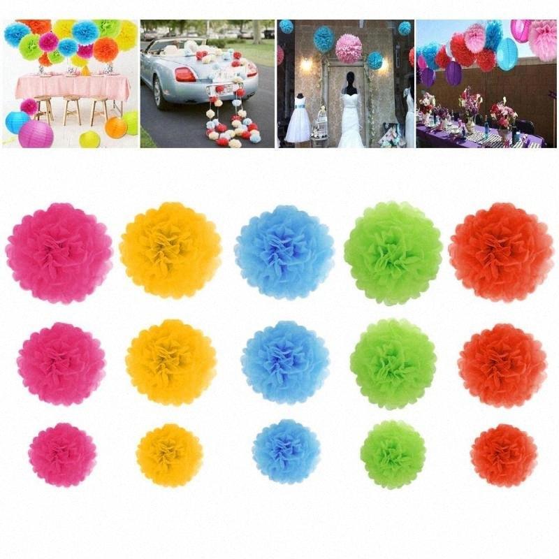 15pcs / Set papier fait main fleur boule de mariage de fête d'anniversaire de Noël Décor multiples de couleur brillante de couleurs peut créer joyeuse ZPTV #