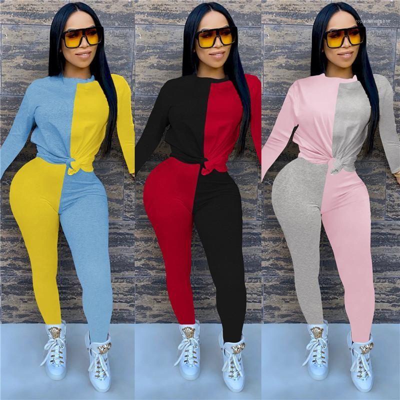 Roupas de Slim Stripe Imprimir Long Short Calças 2PS Set Womens Designer Painéis Fatos Crew Neck Moda