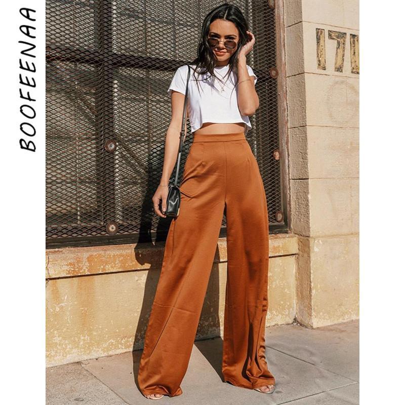 BOOFEENAA Brown Satin Silk Waisted Dress Wide Leg Pants Women Summer Bottoms Palazzo Pants Vintage Loose Trousers C76-AB58