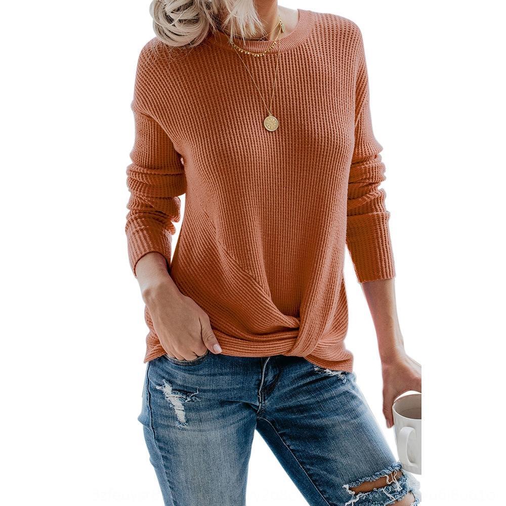 73ea0 pullover Pullover abiti lunghi rotonda manica vita collo nodo casuali 270070 delle donne del maglione delle nuove donne maglione di colore solido