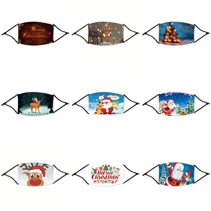 13Styles Masque de Noël Coton visage avec la respiration filtre Valve de poche Camo imprimé floral Masques bouche Noël anti-poussière Haze # 703 M Noël