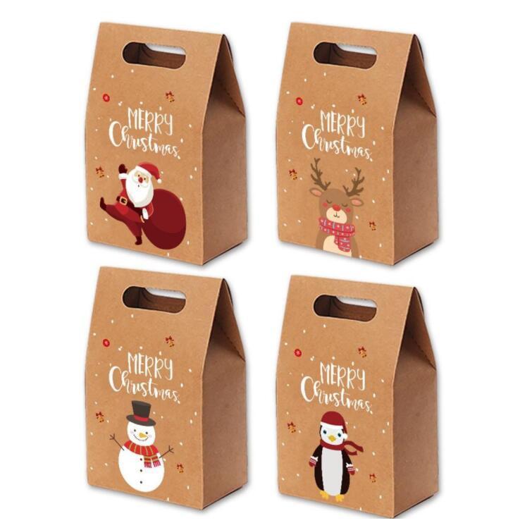Рождественские подарочные пакеты Xmas Vintage Kraft Paper Candy Candy Candy Candy Decket Package Party Party Hoods Организация Организация Sea Dross LSK1003