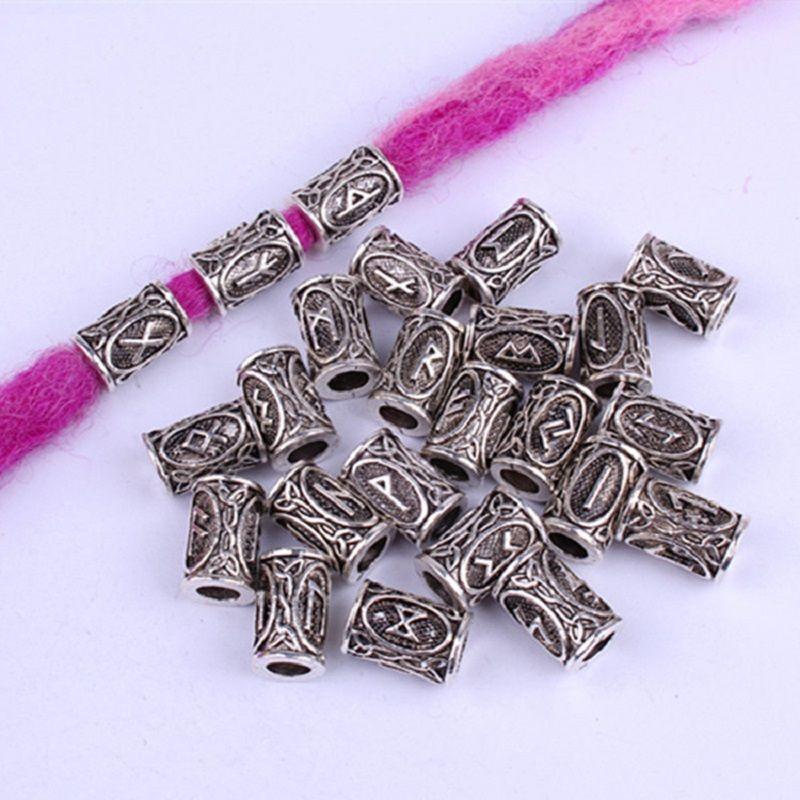 Трубка 24Pcs / Set волос из бисера Viking Руны Beads Dreadlock плетение ювелирные изделия Борода волос Декор Аксессуары Dreadlocks ювелирные изделия для женщин мужчин