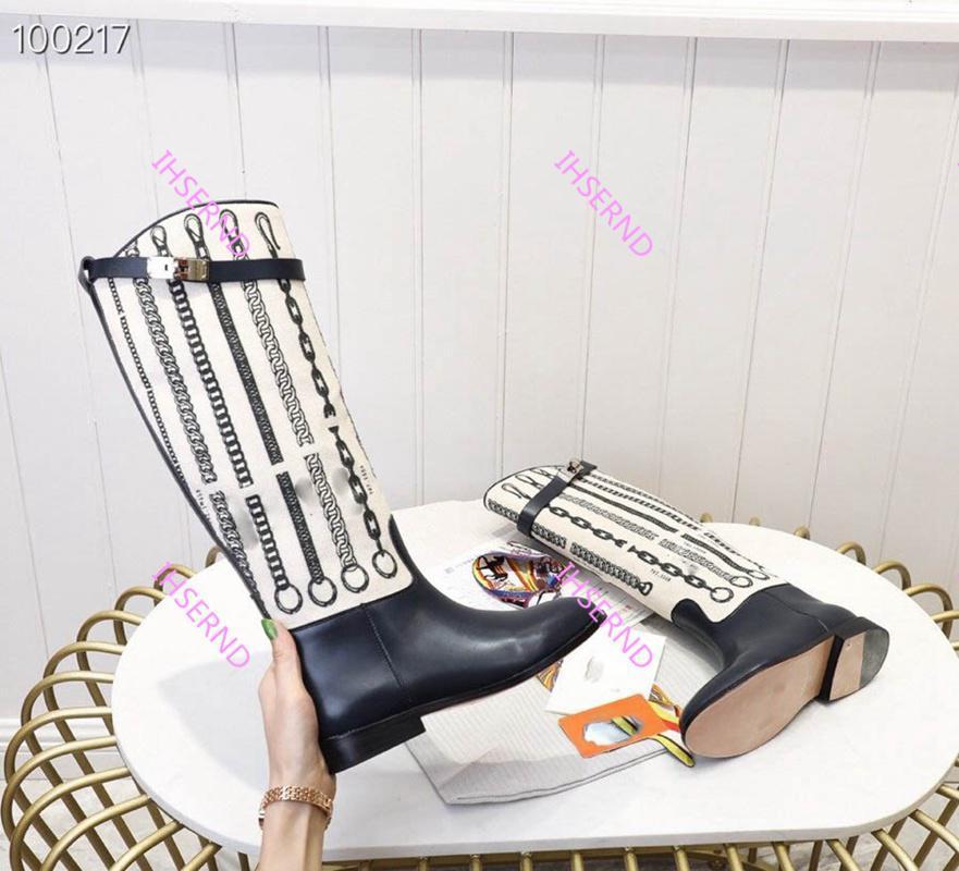 Hot vente de chaussures de plate-forme en cuir de style dames sac chaussures de sport haut dernières bottes de chevalier boucle Kelly bottes Martin